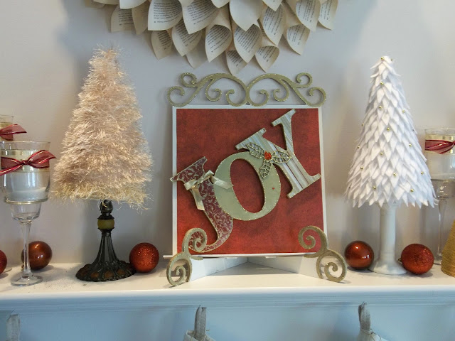 Vintage, Paint and more... Christmas Mantel with diy'd trees of fun fur yarn and felt triangles with gold beads, JOY sign of wood and paper