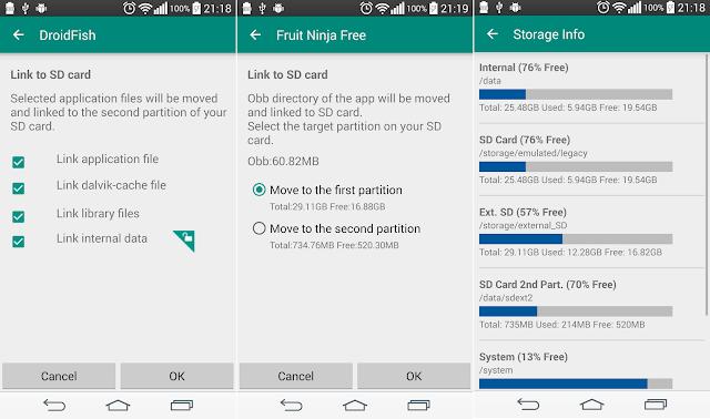 Tampilan Aplikasi Link2SD Plus