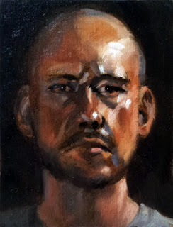 Oil painting of a middle-aged bald man.