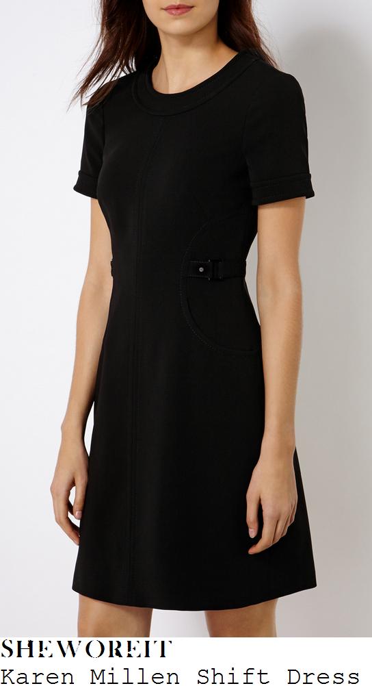 holly-willoughby-karen-millen-black-buckle-detail-shift-dress