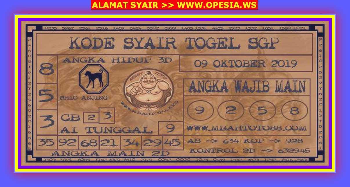 Kode syair Singapore Rabu 9 Oktober 2019 68