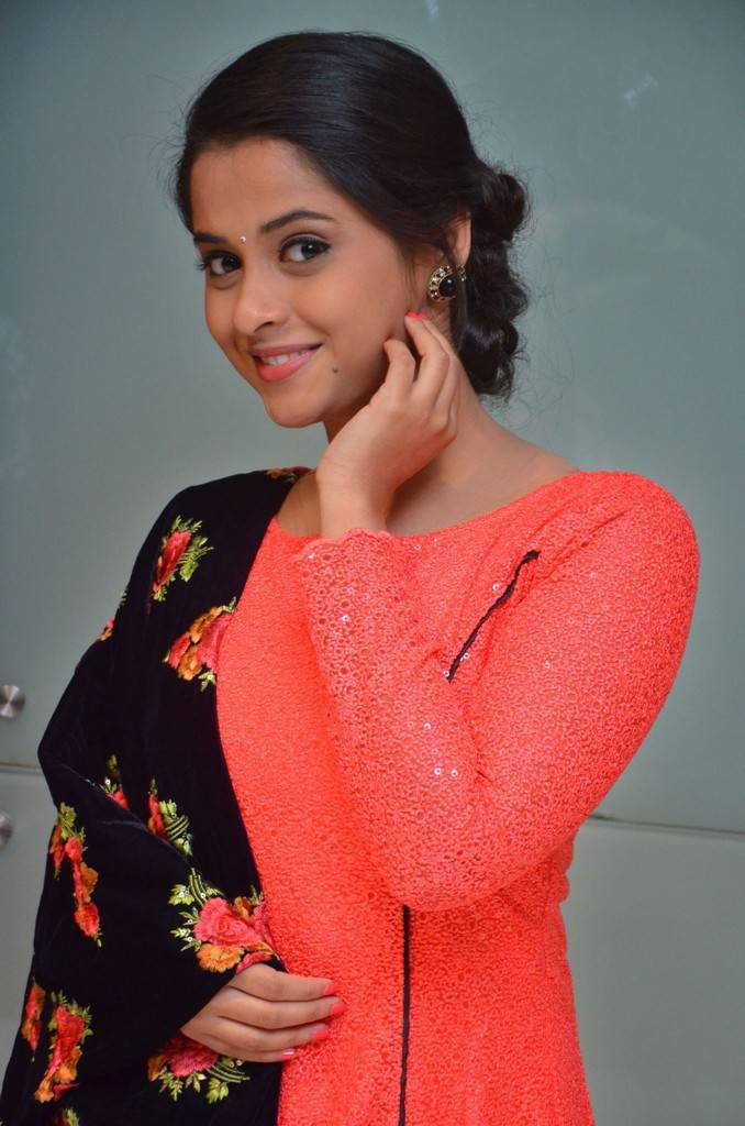Beautiful Telugu Girl Arthana Photos In Red Dress At Audio Launch