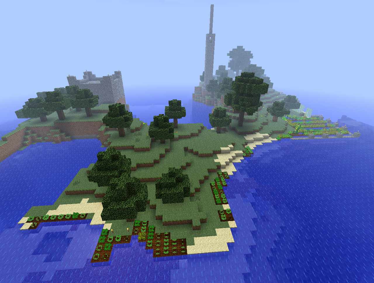 Minecraft FTB Island With Planted Forest