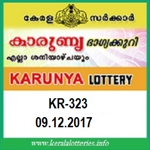 Kerala lottery result Karunya  KR-323 on  09.12.2017
