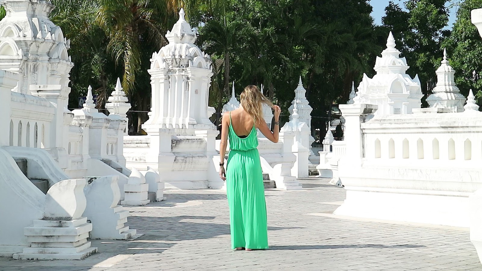 travel and fashion blogger, Alison Hutchinson, at Wat Suan Dok in Chiang Mai, Thailand