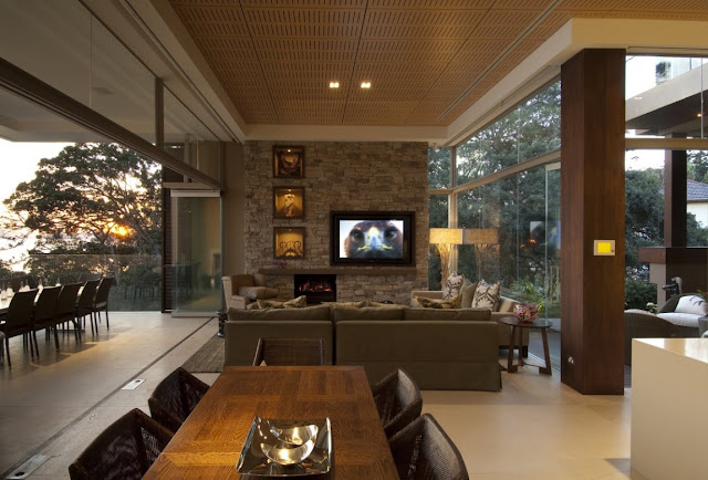 Modern open living room from the dining room