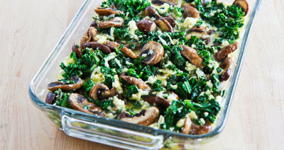 Kale, Mushroom, Feta, and Mozzarella Breakfast Casserole found on KalynsKitchen.com