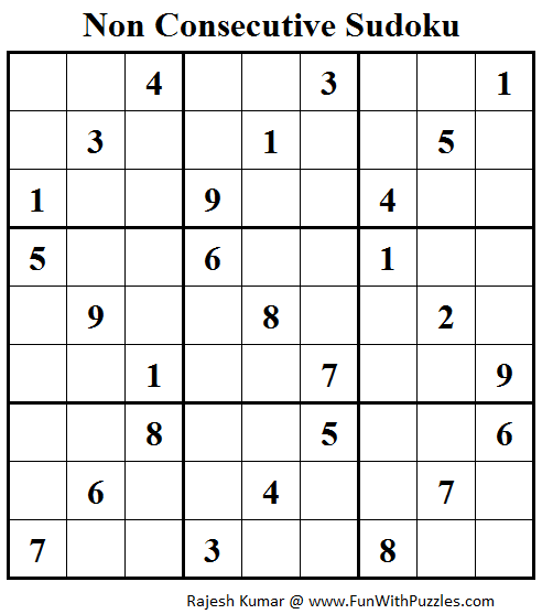 Non Consecutive Sudoku (Fun With Sudoku #72)