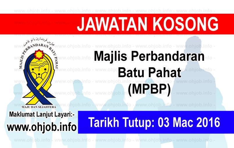 Jawatan Kerja Kosong Majlis Perbandaran Batu Pahat (MPBP) logo www.ohjob.info mac 2016