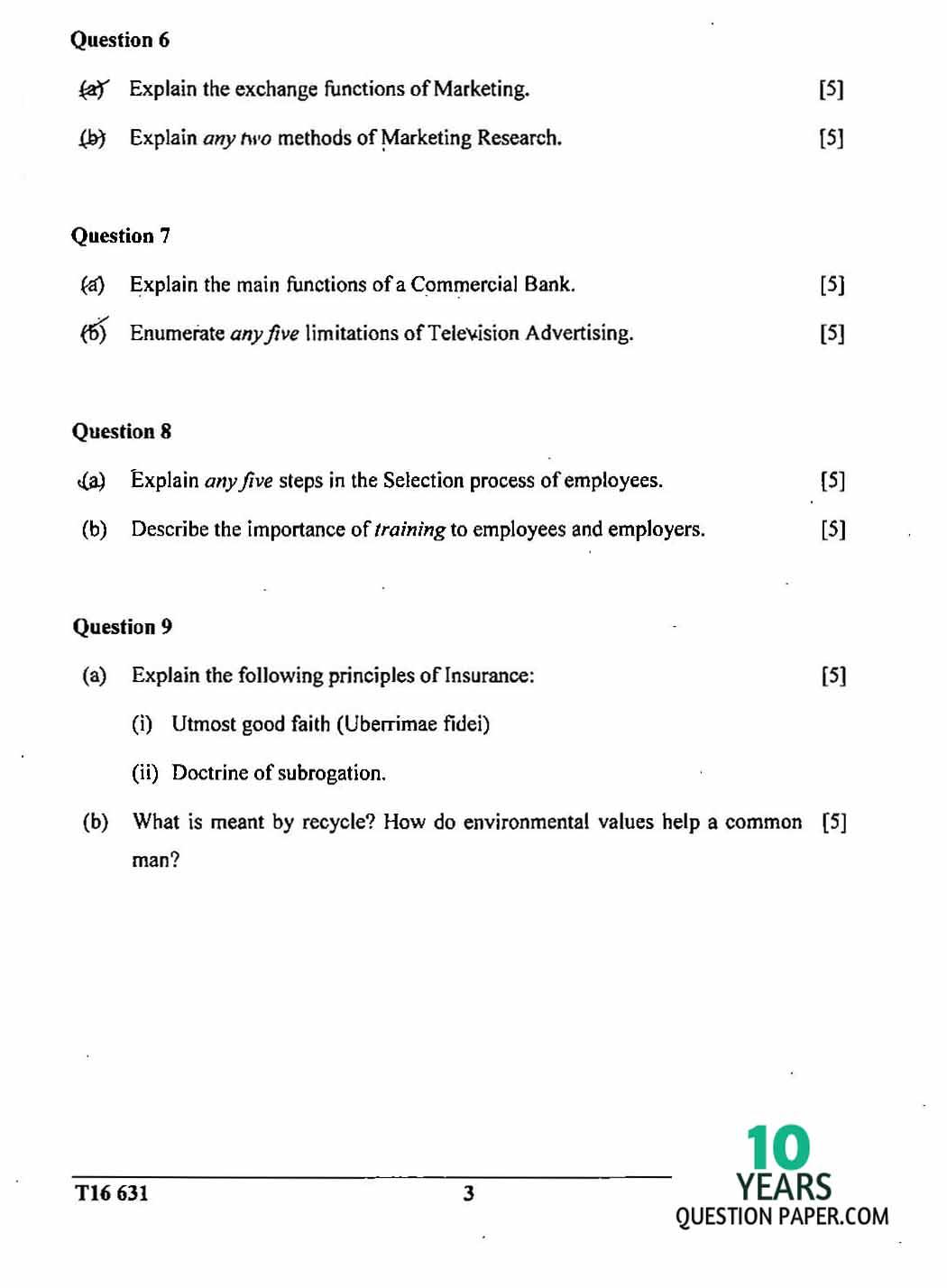 icse 2016 class 10th Commercial Studies question paper