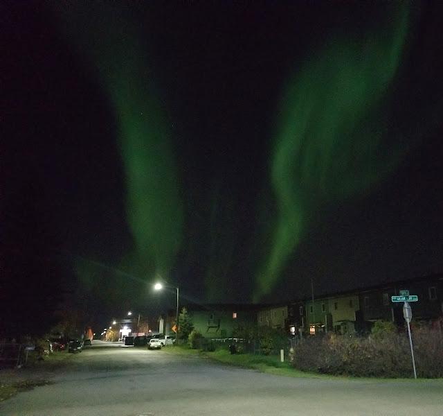 Aurora Borealis aka Northern lights seen on the street outside my house
