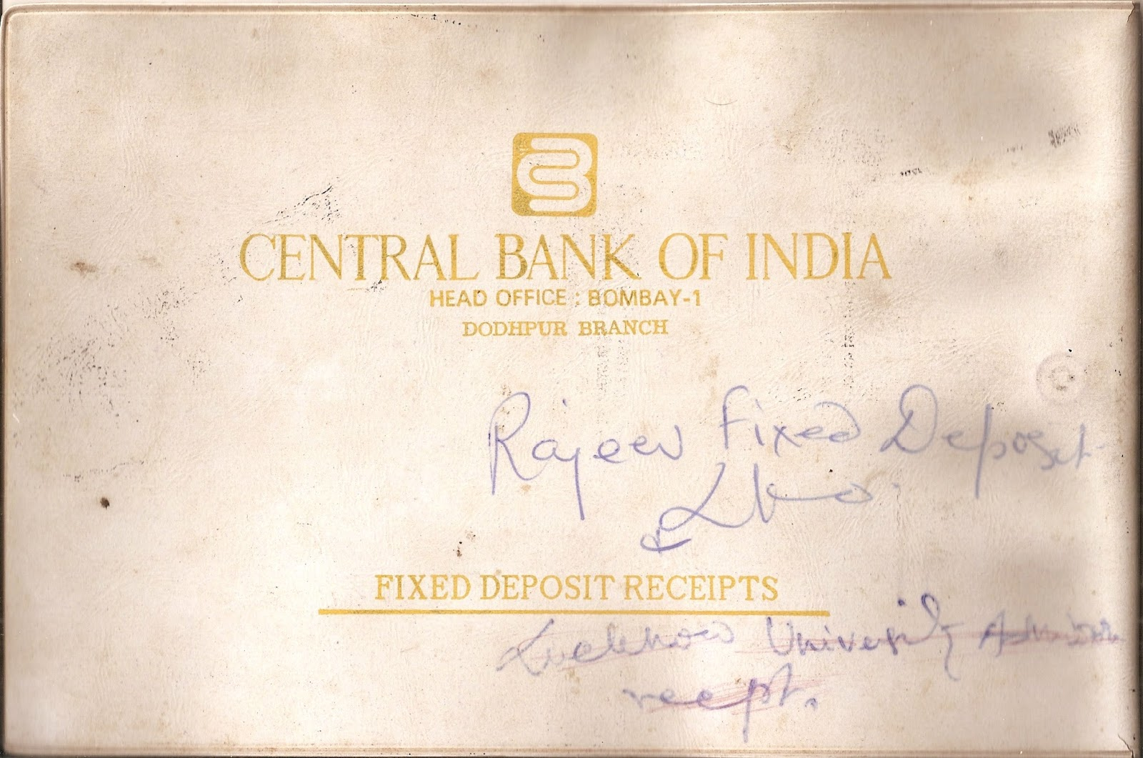 Coins and more 438 central bank of india a commemorative stamp i have kept the cover for my first fixed deposit receipt with the dodhpur branch aligarh of central bank of india as a souvenir on which my mother has thecheapjerseys Choice Image