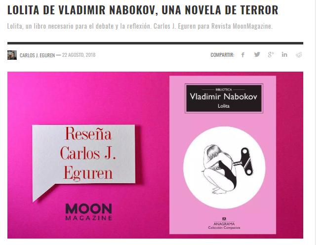 Mi reseña de Lolita de Vladimir Nabokov ya disponible en Moon Magazine