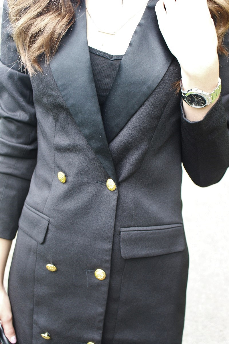 details, festina watch, blazer dress,
