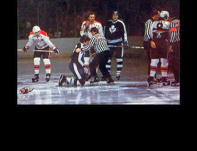 Vs. Toronto: 5 games after Jerry Butler (kneeling) was traded from St. Louis, he fought Bill Riley (#8, far right). By all appearances, he lost by TKO. Not to worry - because of his trade, Butler actually played 82 regular season games - in an 80-game regular season! (11/11/77)