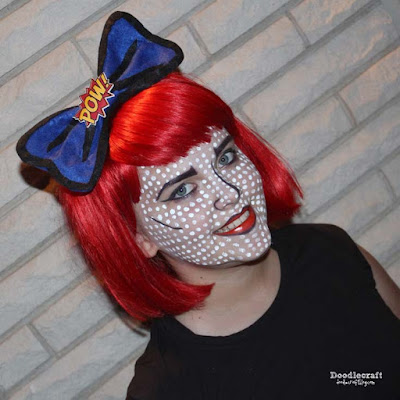 http://www.doodlecraftblog.com/2015/09/comic-book-pop-art-girl-hair-bow-make-up.html