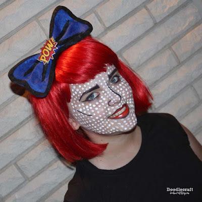 http://www.doodlecraftblog.com/2015/09/comic-book-pop-art-girl-hair-bow-make-up.html