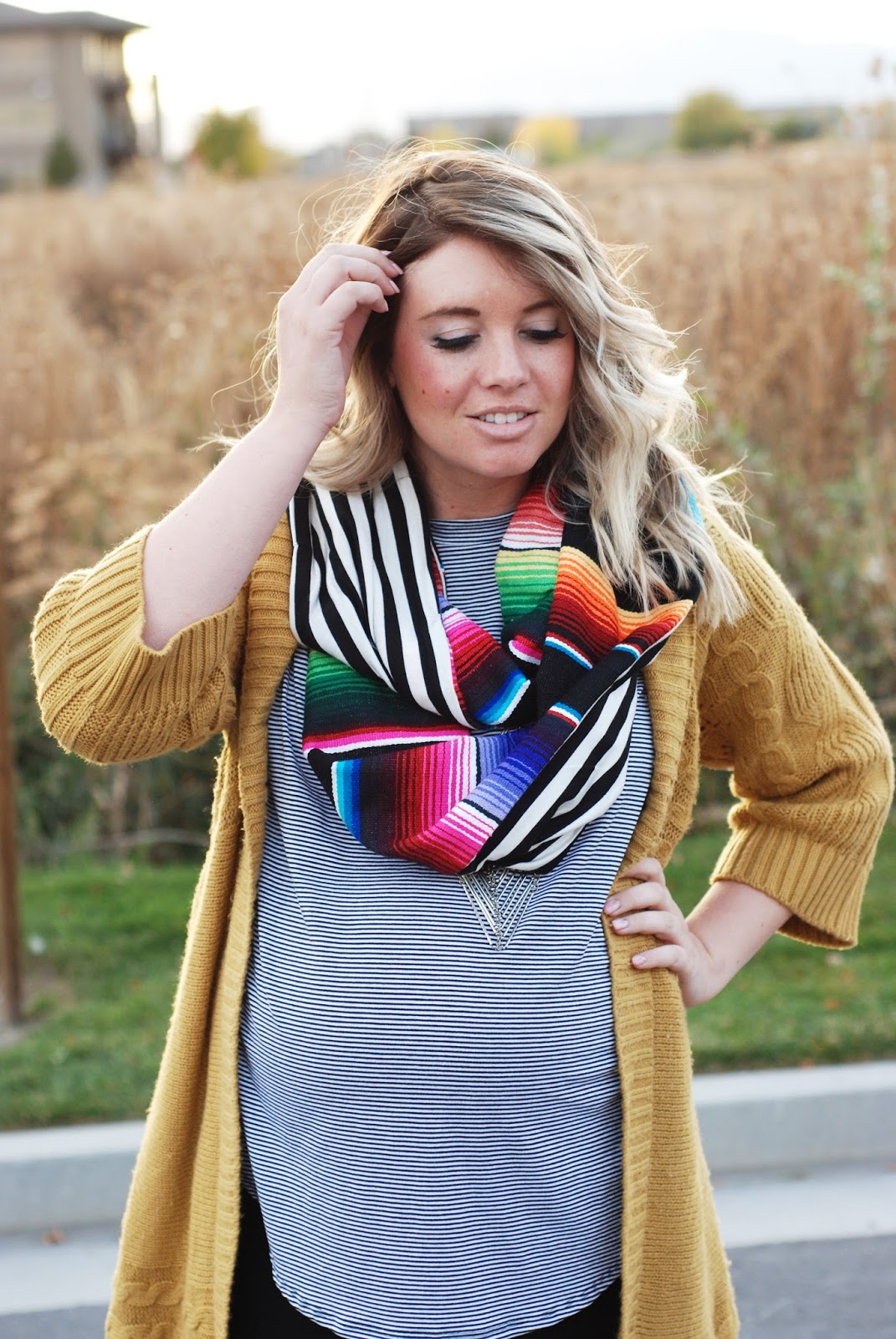 Just Dawnelle, Fall Outfit, Stripes, Utah Fashion Blogger