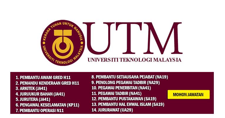Jawatan Kosong di Universiti Teknologi Malaysia UTM - Pelbagai Jawatan Dibuka