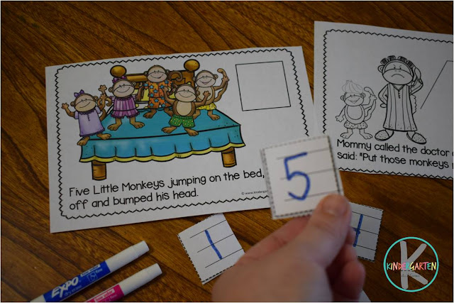 FREE 5 Little Monkey Count and Read Book in color or black and white