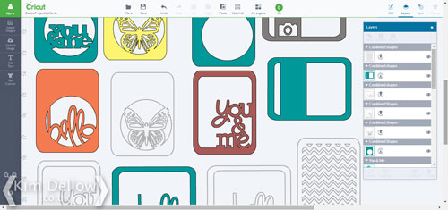 all the journaling cards in the Cricut Design Space Software