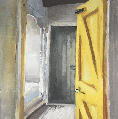 """Yellow door"" farmhouse interior, original oil painting"