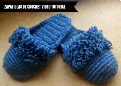 Zapatillas de crochet con restos de lana