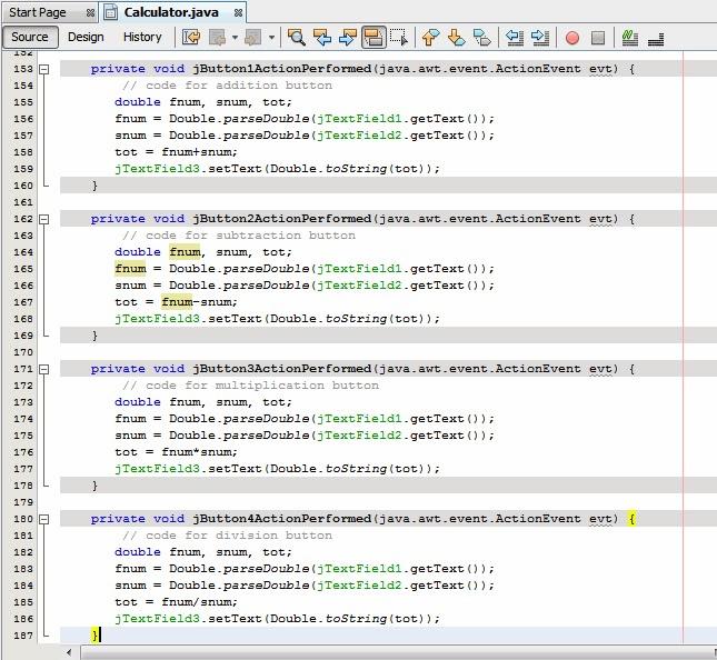 Simple calculator program in java using swing-easy steps.