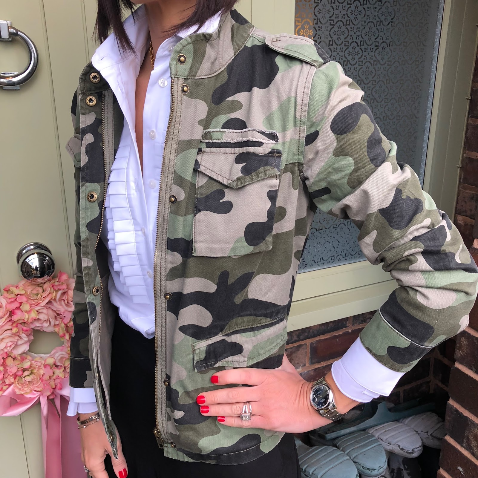 my midlife fashion, hush camo military jacket, hawes and curtis boutique white semi fitted shirt with pleating detail, marks and spencer maxi skirt, golden goose superstar low top leather trainers