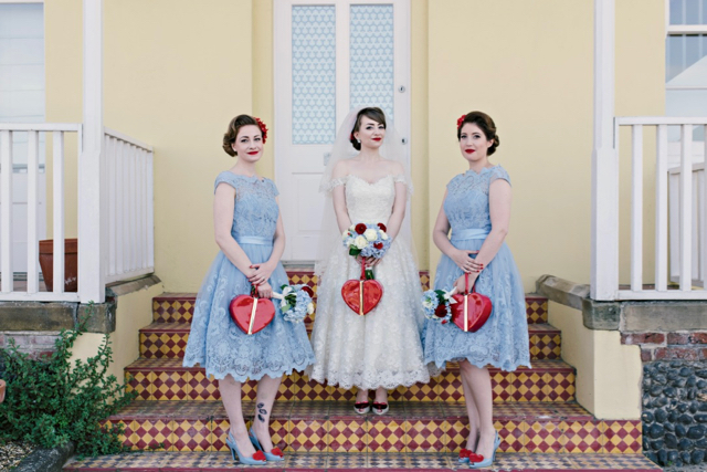 Vintage seaside wedding bride and bridesmaids