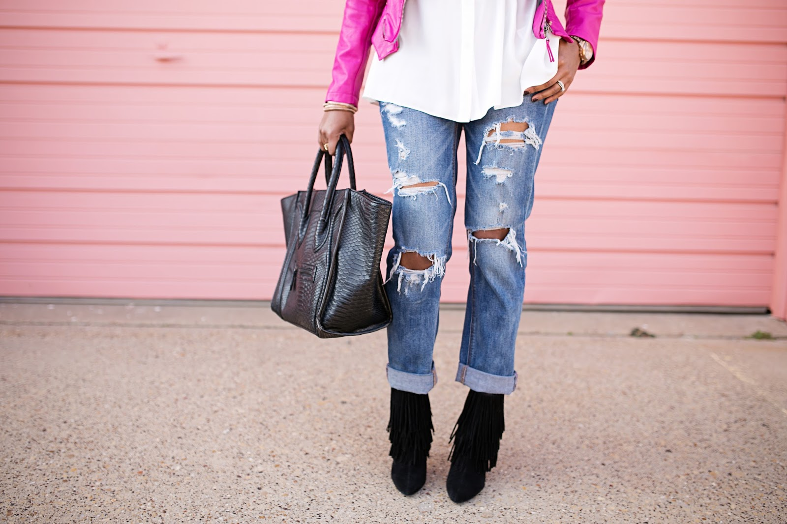 detroit vs everybody t-shirt- american eagle boyfriend jeans- american eagle tom girl jeans- zara fringe booties- justfab look for less celine- pink leather moto jacket- laws of layering-dallas fashion blogger- detroit fashion blogger, valentines date night outfit