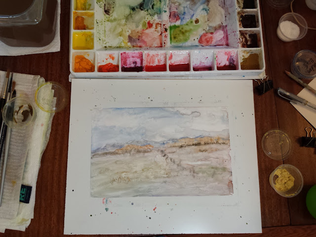 Quick warm up session today with watercolor on Yupo surface.