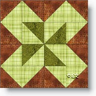 Jack in the Box quilt block copyright W. Russell, patchworksquare.com