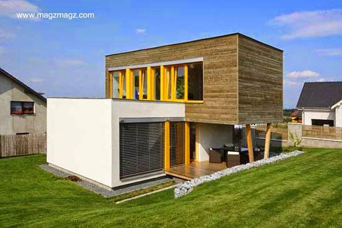 Moderna casa prefabricada en Rep. Checa estilo Contemporáneo
