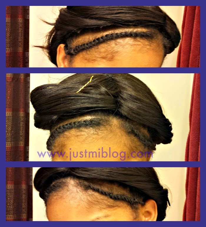 Full sew-in with edges leave out