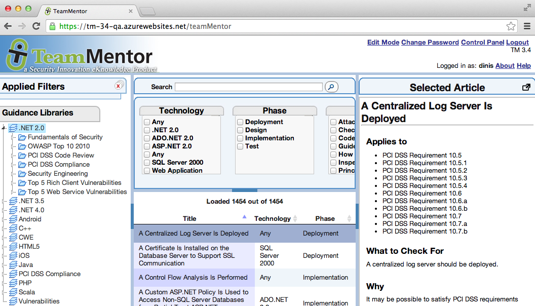 Dinis Cruz Blog: Using TeamMentor 3 4 TBot admin pages to