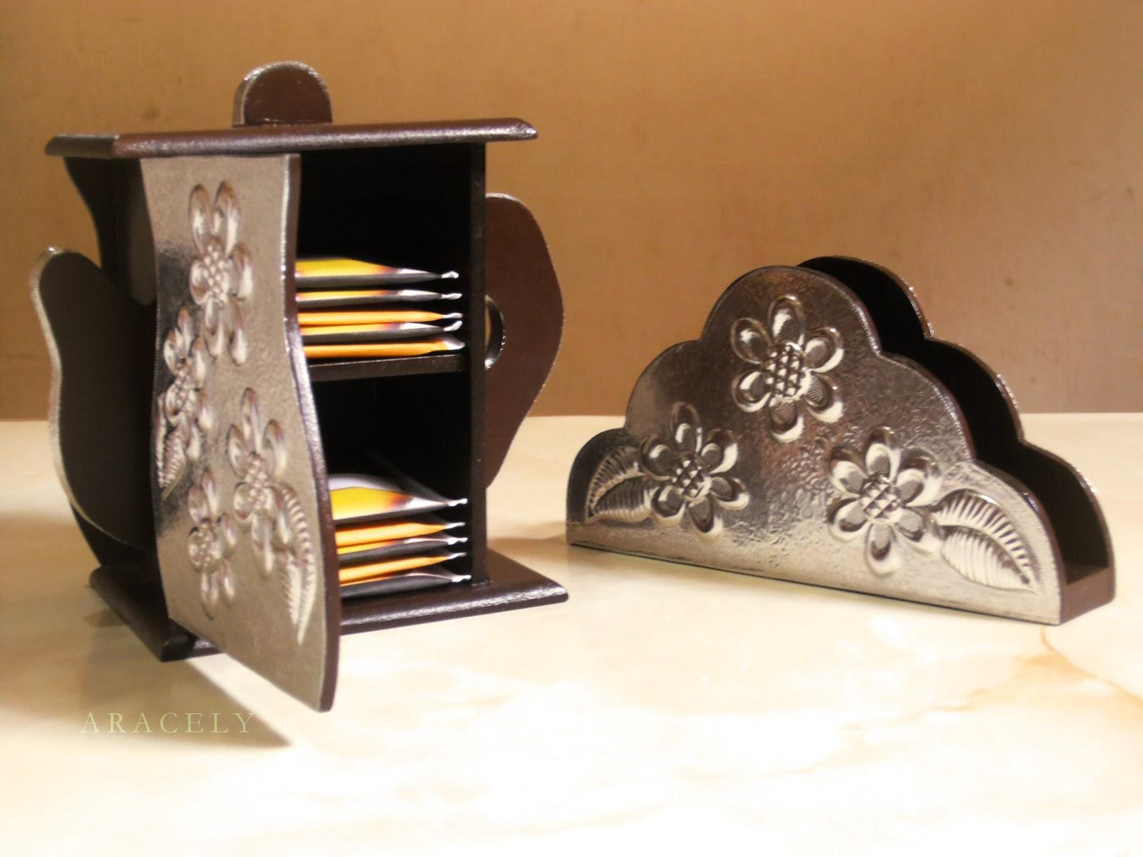 set mesa porta filtrante servilletero repujado aluminio