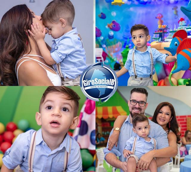 Ladeado por familiares e amigos,  notável casal  Mario Lopes e  Rosy  Ferreira  comemoram o segundo ano de vida do pequeno Miguel  num oceano de magia e cores na grande Recife