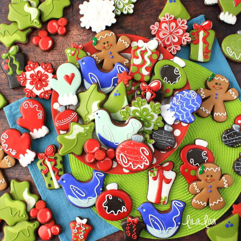 Brightly colored Christmas decorated sugar cookies
