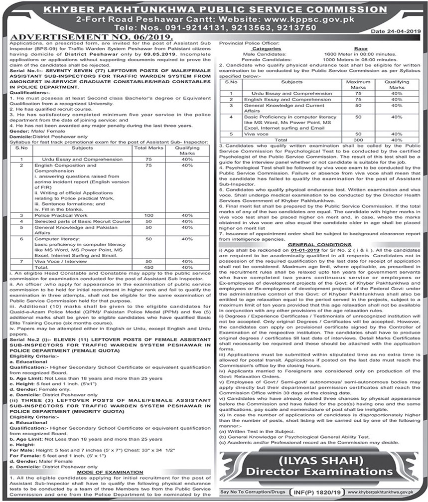 KPPSC Advertisement No 06/2019 - Assistant Sub Inspector Jobs