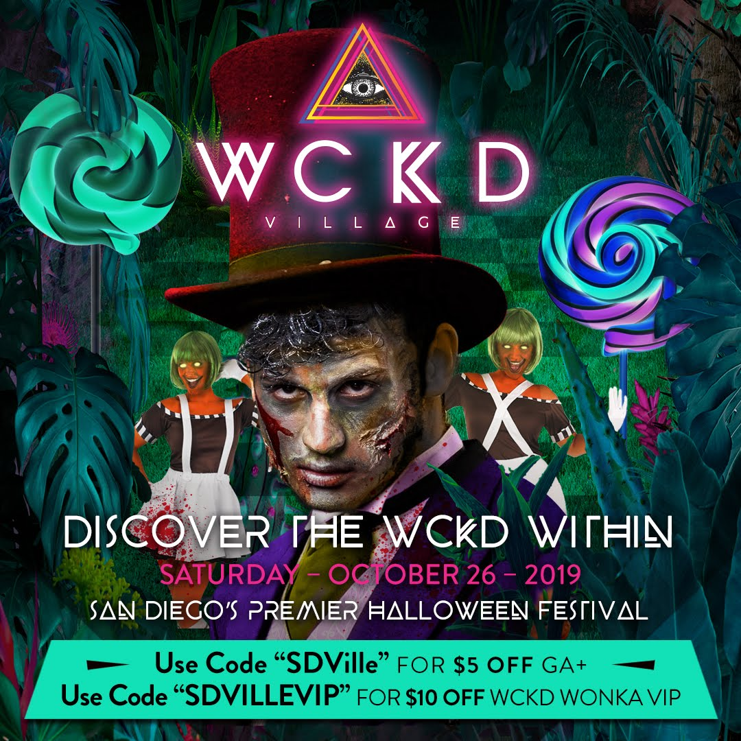 Use promo codes SDVILLE and SDVILLEVIP to Save On Tickets to WCKD Village - October 26!