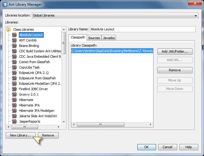 Agregar JDBC Driver de Firebird en NetBeans - Clic en New Library