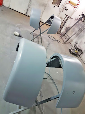 First coat of 1k wash primer on Caterham rear wings