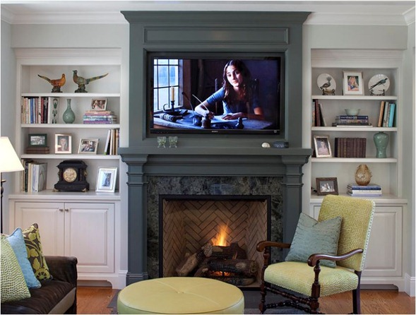 dark gray fireplace TV