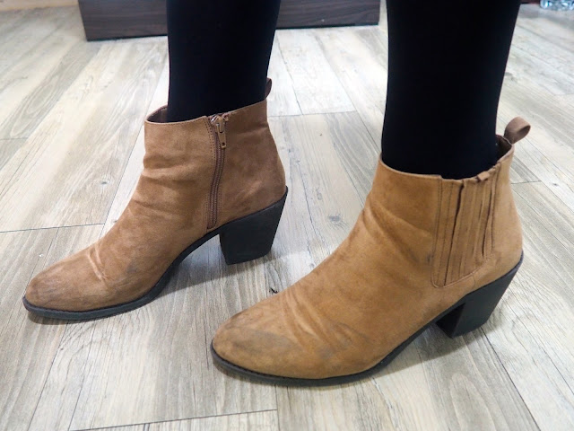 New Addition | brown suede ankle boots with small high heel
