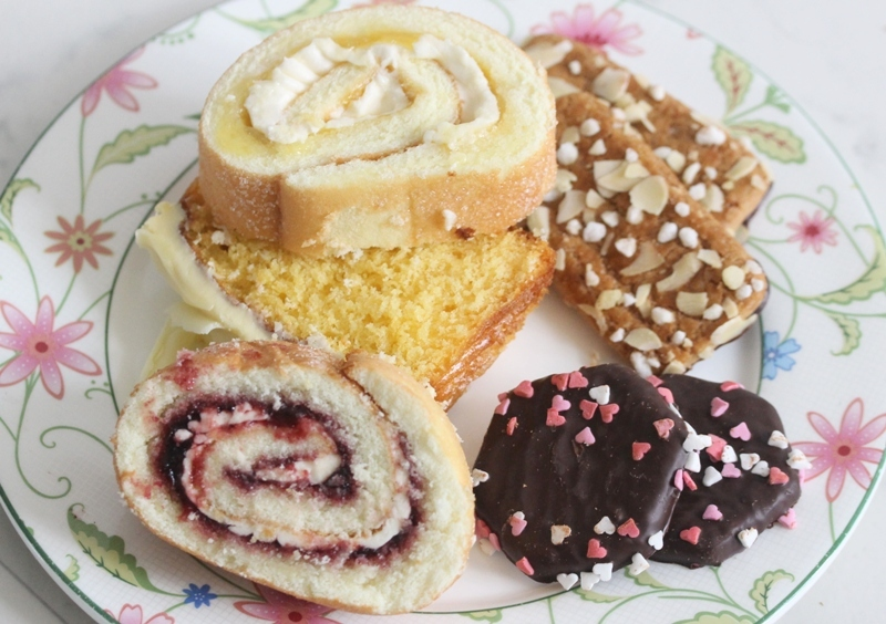 Marks and Spencer swiss rolls high tea sweets cookies fudge cake lemon blackcurrant