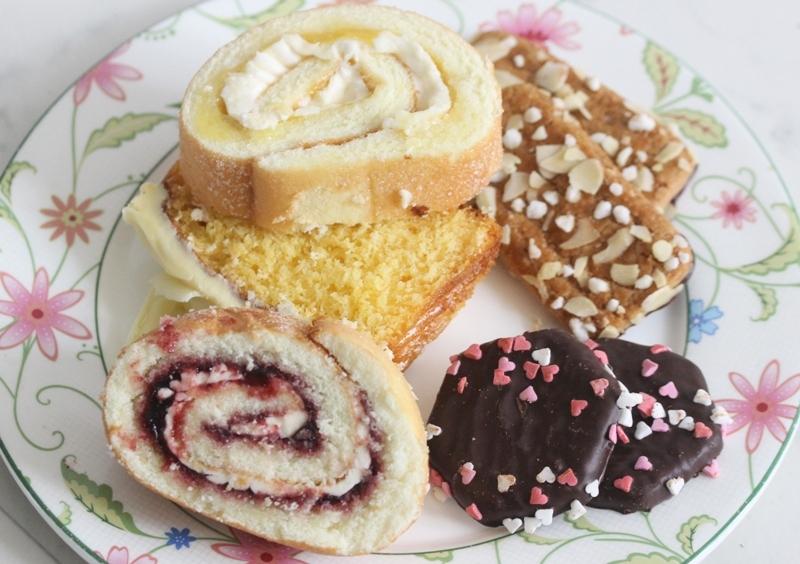 Marks and Spencer swiss rolls high tea sweets cookies fudge cake lemon blackcurrant