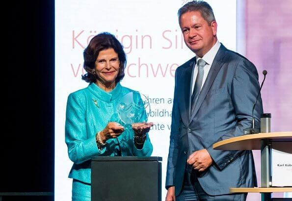 Queen Silvia of Sweden received the Karl Kuebel Prize from Matthias Wilkes