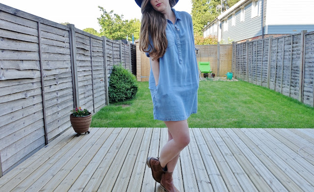 denim dress and barbour boots