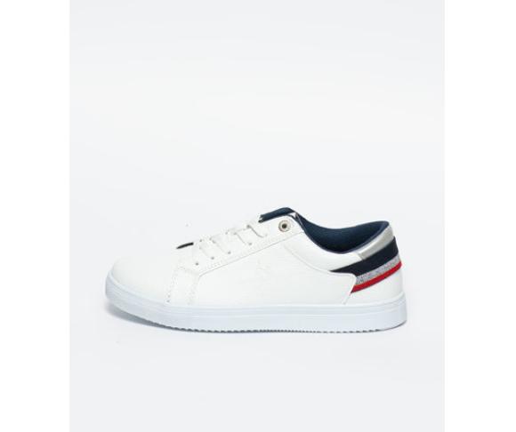 U.S. Polo Assn. Pantofi sport de piele ecologica albi reducere